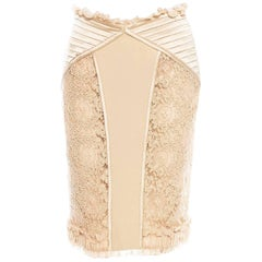 Valentino Champagne Sheer Lace Romantic Ruffle Skirt