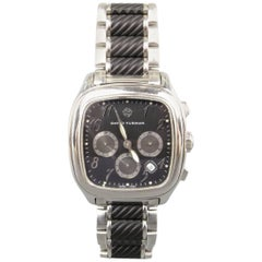 DAVID YURMAN Silver & Black Stainless Steel Thoroughbred Chronograph Watch