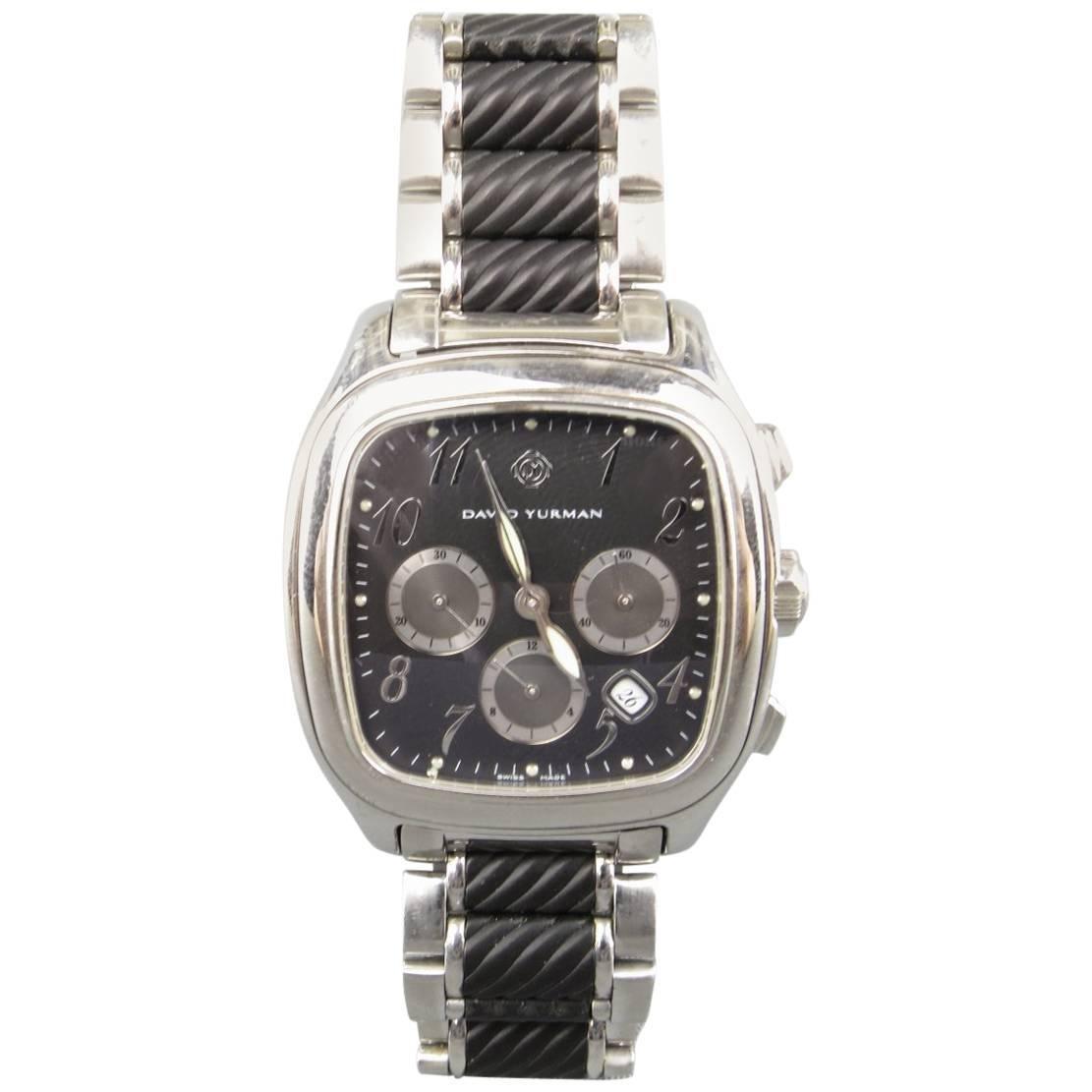 david yurman silver u0026 black stainless steel chronograph watch 1