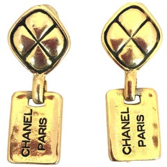 1980s Chanel Paris Stamped gold Tone Drop Earrings