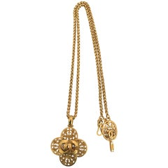 1980s Chanel Filigree Gold Tone Cross Necklace