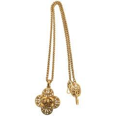 1980s Chanel Filigree Gold Tone Cross Necklace