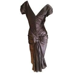 Christian Dior by John Galliano 2006 Silver Gray Dupioni Silk 1940's Style Dress