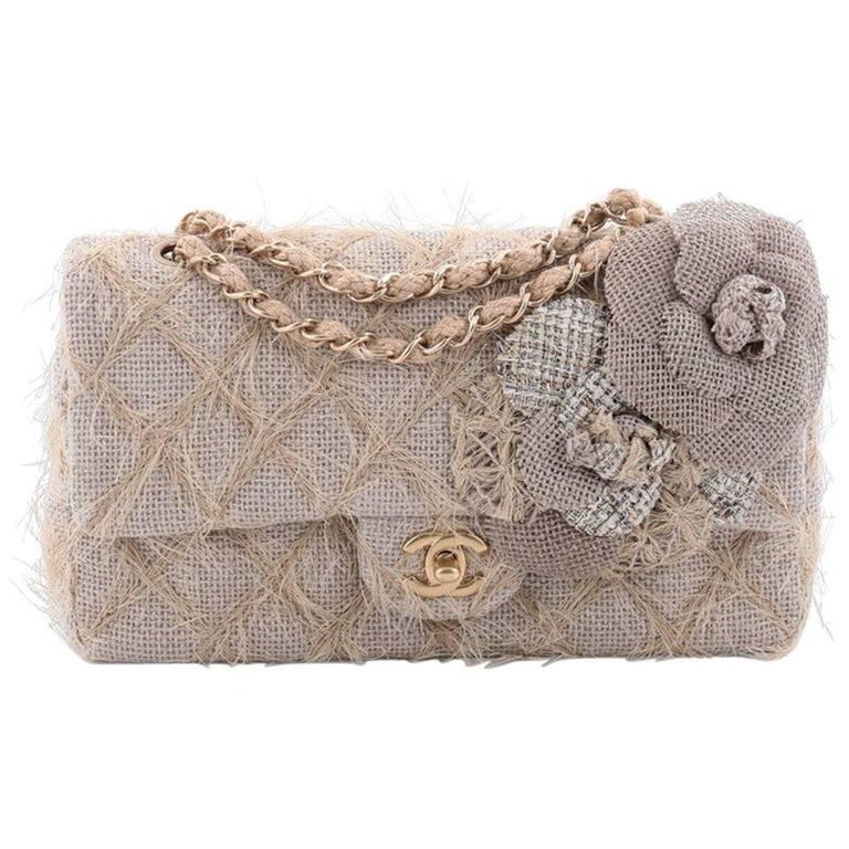 92ab962e29ed Chanel Camellia Classic Single Flap Bag Quilted Burlap Medium at 1stdibs