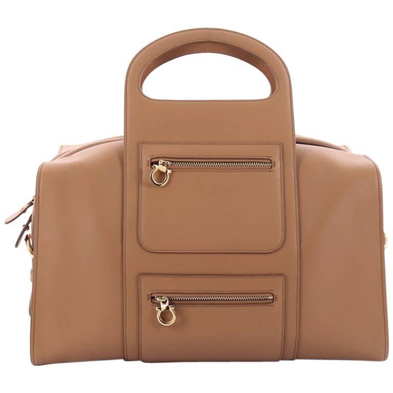 Salvatore Ferragamo Zip Bowling Bag Leather Large