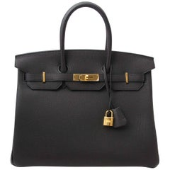 Never Used Hermes Birkin 35 Black Togo