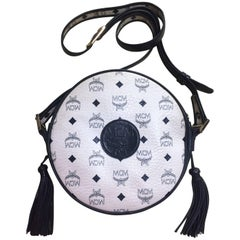 Vintage MCM navy and white monogram round shape shoulder bag, Suzy Wong.