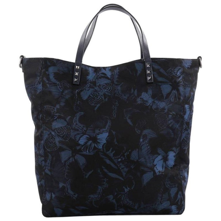 Valentino Rockstud Open Convertible Tote Butterfly Print Nylon Large