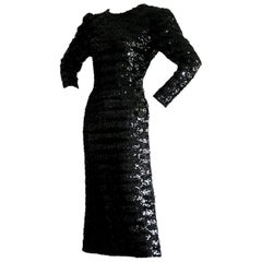 Beautiful Vintage Paco Rabanne Black Sequin Dress w/ Plunging Back