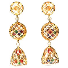 1980s Chanel clip-on earrings representing gilded metal cages
