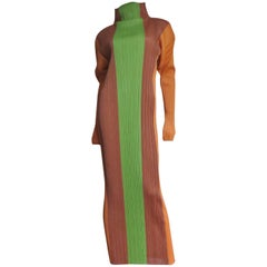 1990s Issey Miyake Pleated Color Block Maxi Dress
