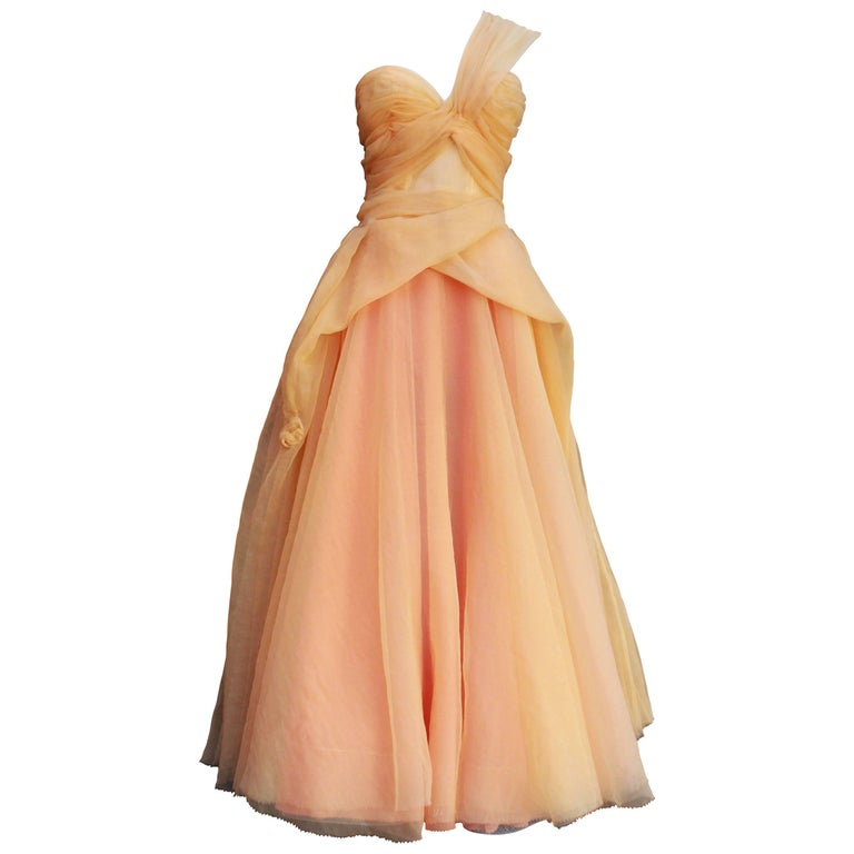 Jean Paul Gaultier long silk bustier dress with flounces in peach tones, 1990s  For Sale