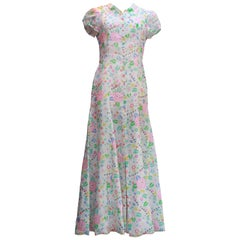 1996 Chanel long dress in floral print silk