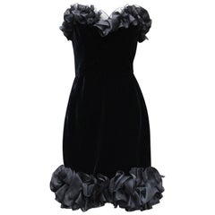 1987 Yves Saint Laurent black velvet bustier dress