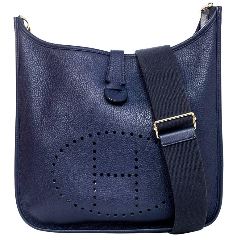 f7b442d798c2 Hermes Navy Blue Clemence Leather Evelyne III GM Crossbody Messenger Bag  For Sale