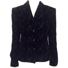Outstanding Oscar de la Renta Black Velvet Floral Embroidered Jacket