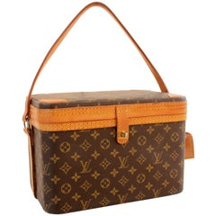 Louis Vuitton Monogram Train Case Travel Bag Beauty Vanity + Luggage Tag 80s