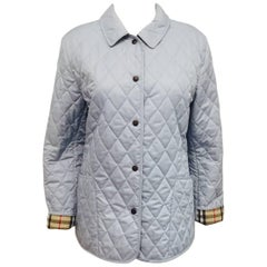 Beautiful Burberry Sky Blue Diamond Quilted Jacket With Nova Check Lining