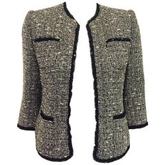 Shimmering Serge & Real Black & White Cropped Jacket with Sequin Trim
