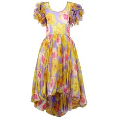 1960s Artisanal Floral Party Dress