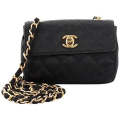 Chanel Vintage CC Chain Flap Bag Quilted Satin Extra Mini