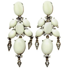 Unsigned Oscar de la Renta Pierced White & Rhinestone Dangling Earrings