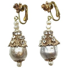 Vintage Early 1930s Miriam Haskell Faux Pearl Dangling Earrings