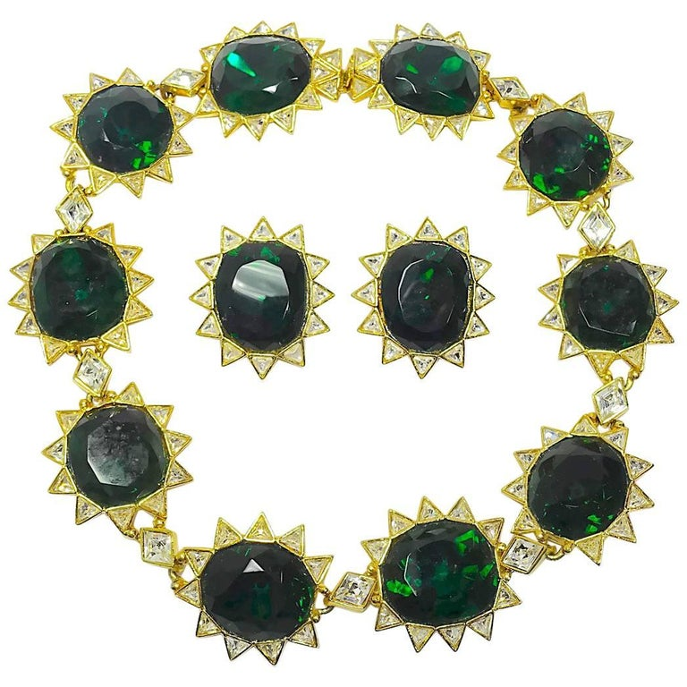 Signed Kenneth Jay Lane Kjl Emerald Green Clear Crystals Necklace Earring For
