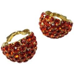Vintage Orange Rhinestone Hoop Earring