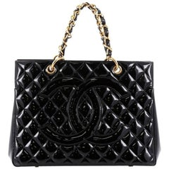 Chanel Vintage Grand Shopping Tote Quilted Patent