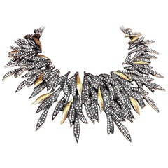 Signed Oscar de la Renta Faux Diamond Statement Feather Necklace