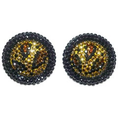 Vintage 1960s Richard Kerr Black and Gold Clip Earrings
