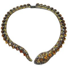 Signed Kenneth Jay Lane Topaz Crystals Snake Necklace