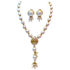 Vintage Miriam Haskell Faux Pearl Drop Necklace And Earrings Set