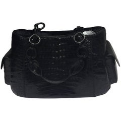 Nancy Gonzalez Black Crocodile Shoulder Bag