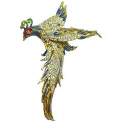 Vintage 1940s Signed CoroCraft Sterling Bird Brooch