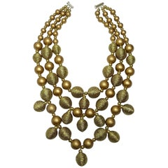 Signed Kenneth Jay Lane Multi-3-Strand Faux Gold Necklace