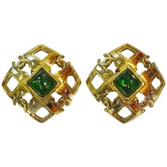 Vintage Chanel Season 23 Green Gripoix Earrings