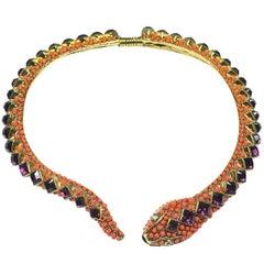 Kenneth Jay Lane Signed Topaz Crystals Snake Necklace