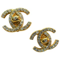 Vintage Rare Chanel Double Cs Crystal Clip Earrings