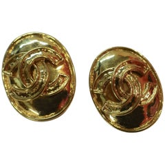 Vintage Chanel Oval Double Cs Clip Earrings