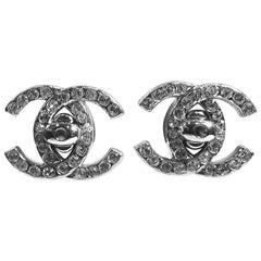 Vintage Chanel Double Cs Crystal Clip Earrings