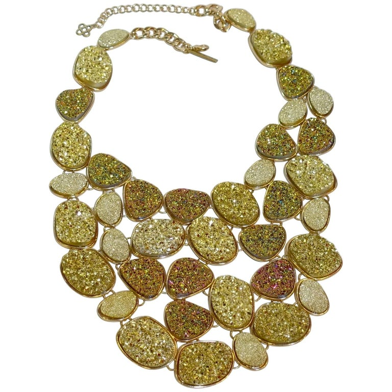 Oscar De La Renta Crystallized Disk Bib Necklace For Sale