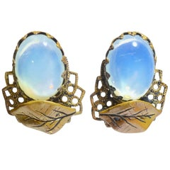 Faux Moonstone Vintage Clip Earrings
