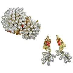 Robert Sorrell One-of-a-Kind Chrysanthemum Cuff Bracelet and Earrings