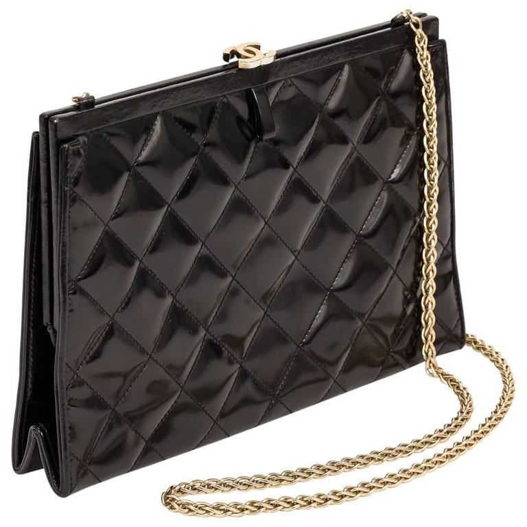 1970's Chanel Black Quilted Patent Leather Convertible Evening Bag w/Chain Strap