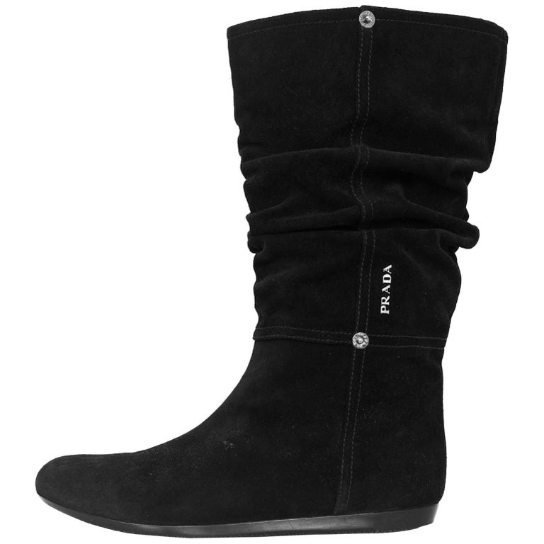 prada sport black suede boots sz 39 5 for sale at 1stdibs
