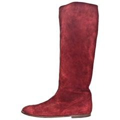 Gucci Burgundy Suede Boots Sz 40