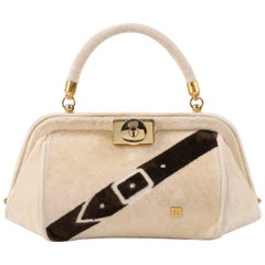 ROBERTA DI CAMERINO c.1960's Beige & Brown Velvet Trompe L'oeil Buckle Handbag