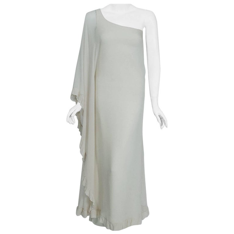 1975 Loris Azzaro Couture Ivory Silk Crepe One-Shoulder Goddess Caftan Gown